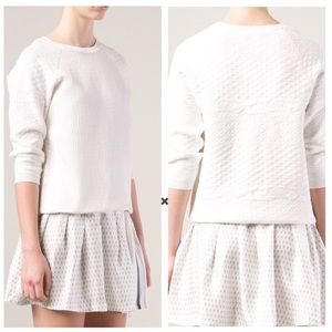 Vince White Jacquard Puff 3/4th Sleeve Sweater
